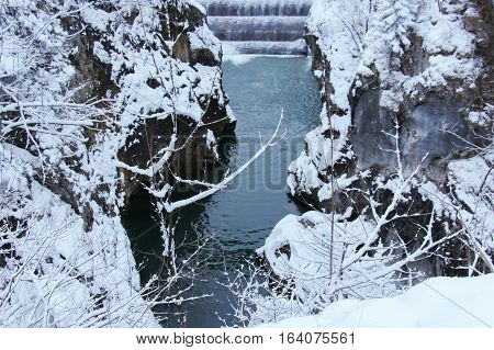 The view of the gorge on the Lech river in winter time. Fussen. Germany.