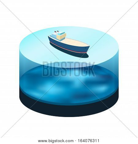 Isometric ship on the water ,a top view of a cargo ship in the sea, water as a cylinder with a ocean bed