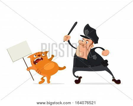 aggressive policeman against cute cat protester vector cartoon