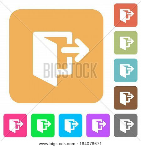 Exit icons on rounded square vivid color backgrounds.