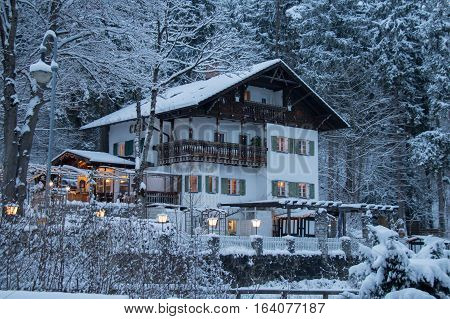 Fussen Germany - December 26 2014: view of Steakhaus Fussen in winter time on December 26 2014 Fussen Germany.