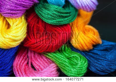 Colorful Embroidery Thread Closeup