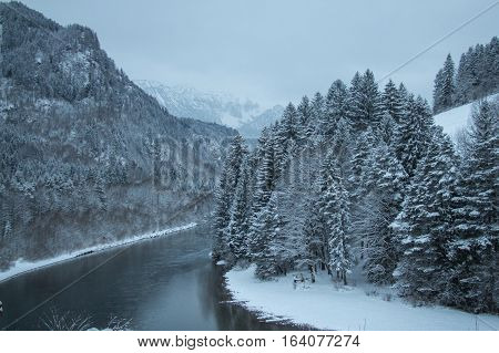 The view of the Lech river in winter time. Fussen. Germany.