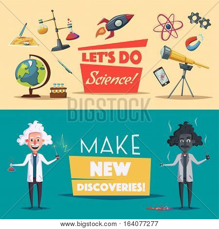 Crazy old scientist. Funny character. Cartoon vector illustration. Mad professor. Science experiment. Remote controller. Banners set. For advertising and web.  Science theme.