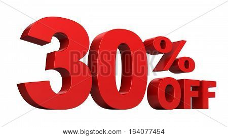 3d render of 30 percent off sale text isolated over white background
