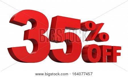 3d render of 35 percent off sale text isolated over white background