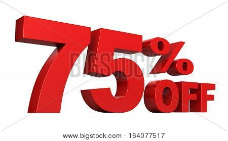 3d render of 75 percent off sale text isolated over white background