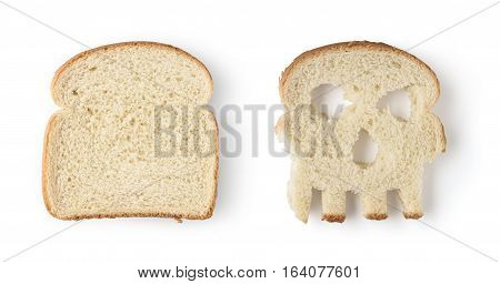 One regular and one skull shaped slices of bread isolated on white background. Concept danger from gluten