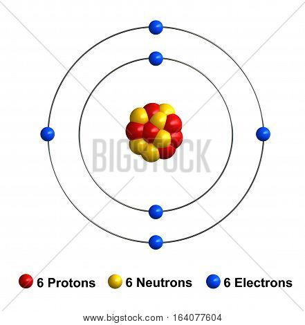 3d render of atom structure of carbon isolated over white background Protons are represented as red spheres neutron as yellow spheres electrons as blue spheres