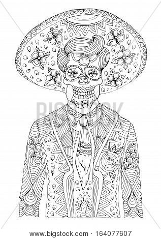 Vector hand drawn man with sugar skull calavera makeup with patterned sombrero on his head. Mexican holiday Day of the Dead. Halloween costume party for coloring book. Coloring page A4 size.