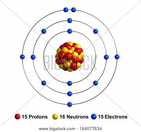 3d render of atom structure of phosphorus isolated over white background Protons are represented as red spheres neutron as yellow spheres electrons as blue spheres