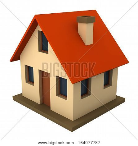 3d render of schematic presented cottage isolated over white background