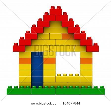 3d render of abstract house from plastic building blocks isolated over white background