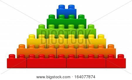 3d render of abstract pyramide from plastic building blocks isolated over white background