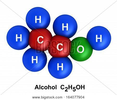 3d render of molecular structure of alcohol isolated over white background Atoms are represented as spheres with color and chemical symbol coding: hydrogen(H) - blue oxygen(O) - green carbon(C) - red