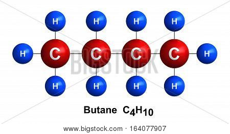 3d render of molecular structure of butane isolated over white background Atoms are represented as spheres with color and chemical symbol coding: hydrogen(H) - blue carbon(C) - red