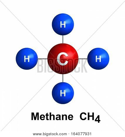 3d render of molecular structure of methane isolated over white background Atoms are represented as spheres with color and chemical symbol coding: hydrogen(H) - blue carbon(C) - red