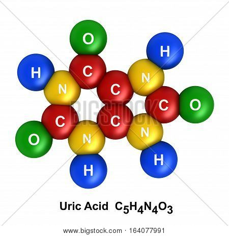 3d render of molecular structure of uric acid isolated over white background Atoms are represented as spheres with color and chemical symbol coding: hydrogen(H) - blue oxygen(O) - green nitrogen(N) - yellow carbon(C) - red.