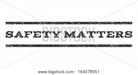 Safety Matters watermark stamp. Text caption between horizontal parallel lines with grunge design style. Rubber seal gray stamp with unclean texture. Vector ink imprint on a white background.