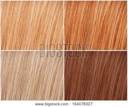 Example of four natural hair colors palette