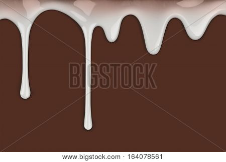 drips of condensed milk on a chocolate brown background