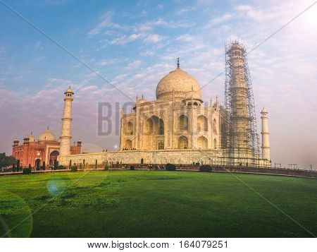 Taj Mahal at Surise,Agra India, Seven Wonder of the world