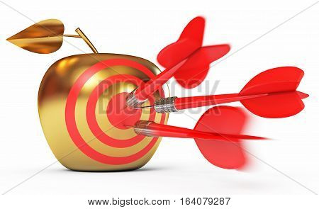 Hit the bull's-eye. Golden Apple. Game of darts. Dart Hitting A Target. Isolated on white background. 3D illustration. 3D rendering