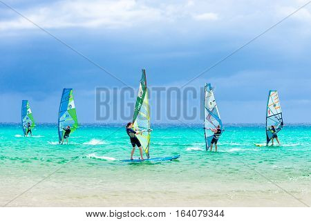 Fuerteventura Spain - October 4 2016: Windsurfing competition - Sotavento beach Fuerteventura