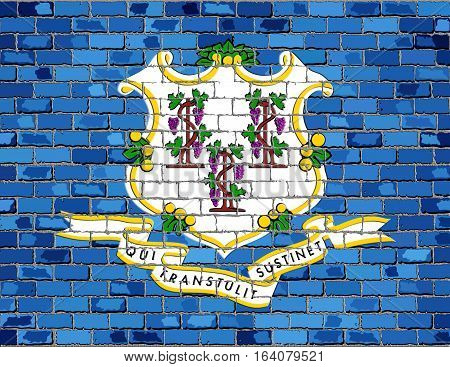 Flag of Connecticut on a brick wall with effect - 3D Illustration,  The flag of the state of Connecticut on brick textured background,  Connecticut Flag in brick style