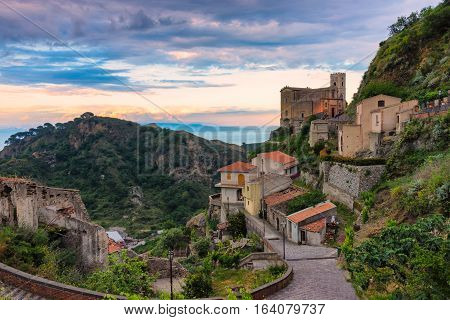 Church of St. Nicolò at sunset Savoca Italy. Savoca was the location for some scenes of the Godfather movie.