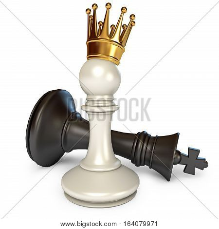 White does the pawn checkmate. Pawn with golden crown. Isolated on white background. 3D illustration. 3D rendering
