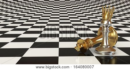 Pawn puts checkmate. Pawn with golden crown. Against the background of a chessboard. 3D illustration. 3D rendering