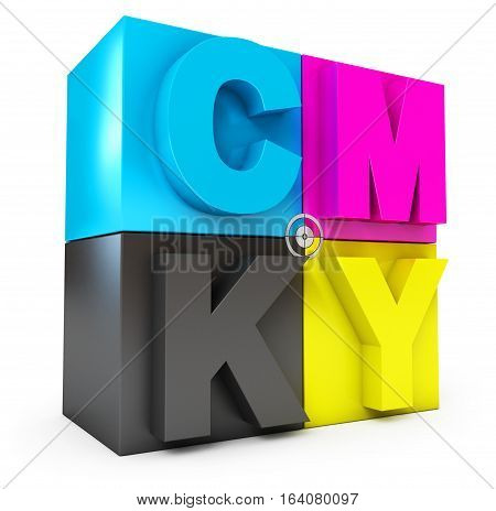 CMYK cubes. Isolated on white background. 3D illustration. 3D rendering