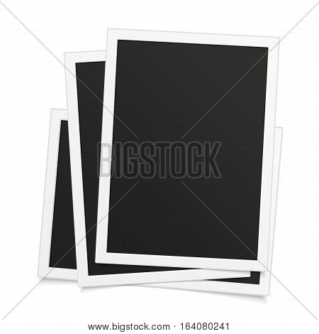 Vector retro photo frame with transparent shadow. Template of Realistic Vintage Photo frames design. White plastic border isolated on background.