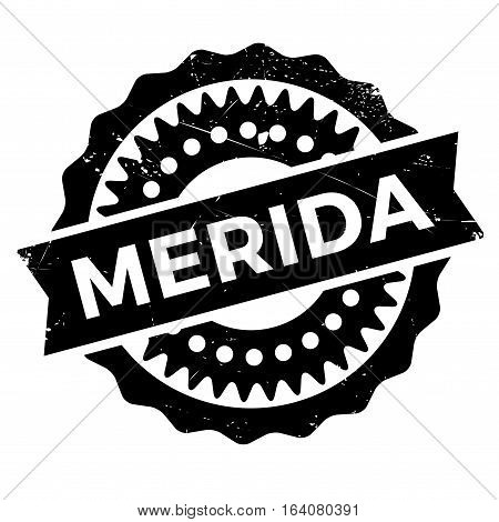 Merida stamp. Grunge design with dust scratches. Effects can be easily removed for a clean, crisp look. Color is easily changed.