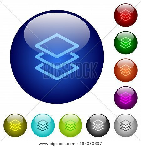 Layers icons on round color glass buttons