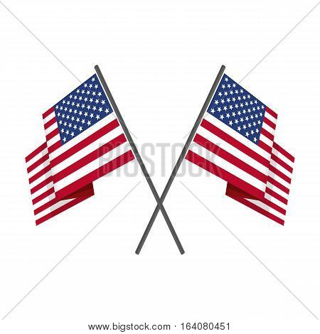Two crossed United States USA national flag on isolated white background. Waving American Flag in flat style. Vector illustration.