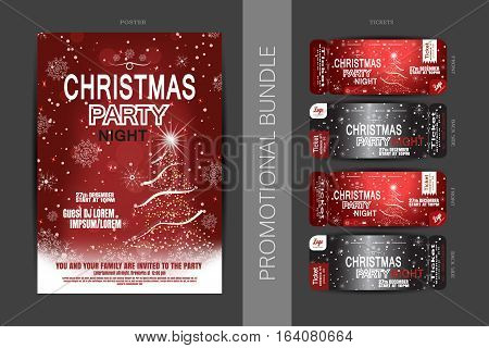 Vector Christmas night party promotional bundle of red posters and tickets with Christmas tree snowflakes pattern and snowfall on the dark gray background.