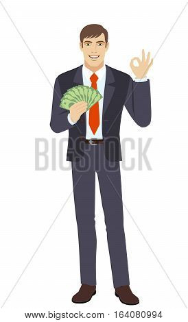 Businessman with money. Smiling business man show a okay hand sign. Full length portrait of businessman in a flat style. Vector illustration.