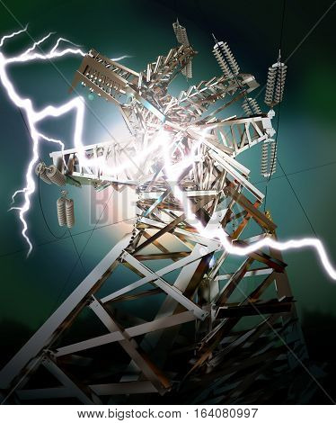 Power Transmission Line. Lightning strike. Crash. 3D illustration. 3D rendering