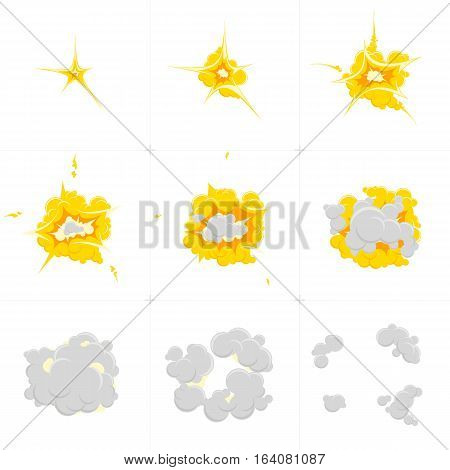 Cartoon Explosion effect with smoke. Sprite sheet for cartoon fire explosion, mobile, flash effect animation. Effect boom, explode flash, bomb, vector illustration. Animation frames for game. poster