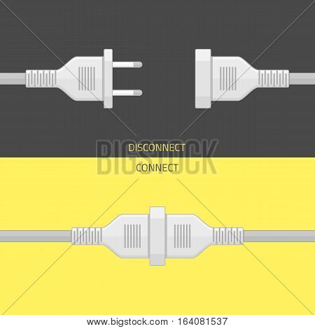 Electric plug and socket isolated abstract vector illustration in flat design. Concept connection, connection, disconnection, electricity.