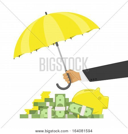Hand holding umbrella to protect money. Money cash and gold coins under yellow Umbrella vector illustration in flat style. Financial savings concept. Capital protection, secure business economy