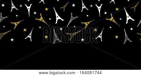 Unique Vector Gold White Eifel Tower Paris Horizontal Seamless Pattern Border With Stars At Night. Perfect for travel themed postcards, greeting cards, wedding invitations. Surface pattern design.