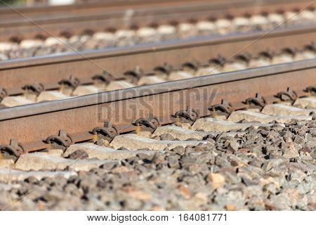 german rail road line lies on stones