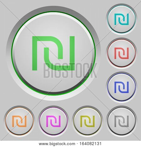 Israeli new Shekel sign color icons on sunk push buttons