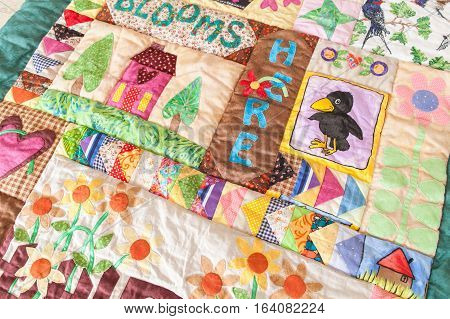 Patchwork quilt. Part of patchwork quilt as background. Handmade.