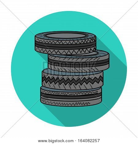 Barricade from tires icon in flat design isolated on white background. Paintball symbol stock vector illustration.