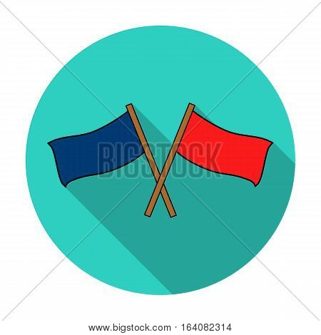 Red and blue flags icon in flat design isolated on white background. Paintball symbol stock vector illustration.