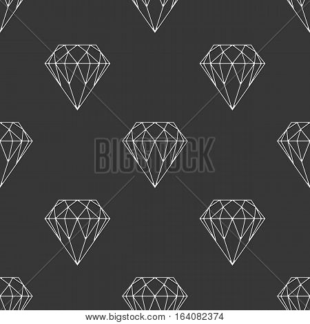 Diamonds seamless pattern. Vector texture with gemstones circuits. Good for wrapping paper, textiles, fabric, card, invitation, wedding or birthday. Glamour fashion diamond background.